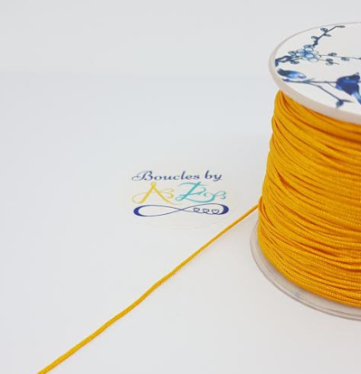 Fil nylon tressé jaune moutarde 1mm